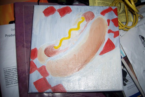 hot dog painting in progress