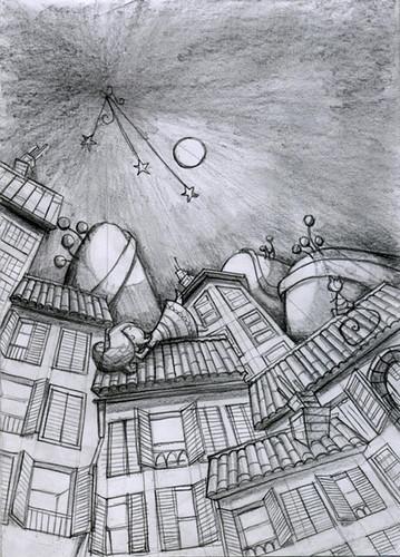 niña en tejado