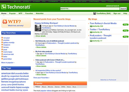 New Technorati homepage