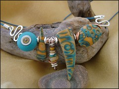 Blue Jazz - Mokume Gane Neckpiece (julie_picarello) Tags: julie jewelry polymerclay clay polymer gane mokume picarello yellowhousedesigns