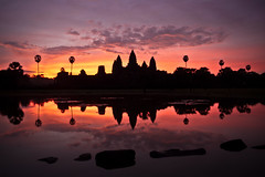 Angkor Wat Sunrise (Marko Stavric) Tags: world morning travel light reflection heritage water pool sunrise reflections temple ancient ruins cambodia gallery escape d70 unesco explore temples siem planet angkor wat riep