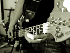 Aron Friðrik with his Fender bass (Siggidóri) Tags: music studio raw nef bass fender recording lightroom electricbass recordingsession bassi adobergb hljómsveit upptökur hljóðver samspil tónlistarskólireykjanesbæjar aronfriðrik grayscalemonotonebwsepiasplittoning