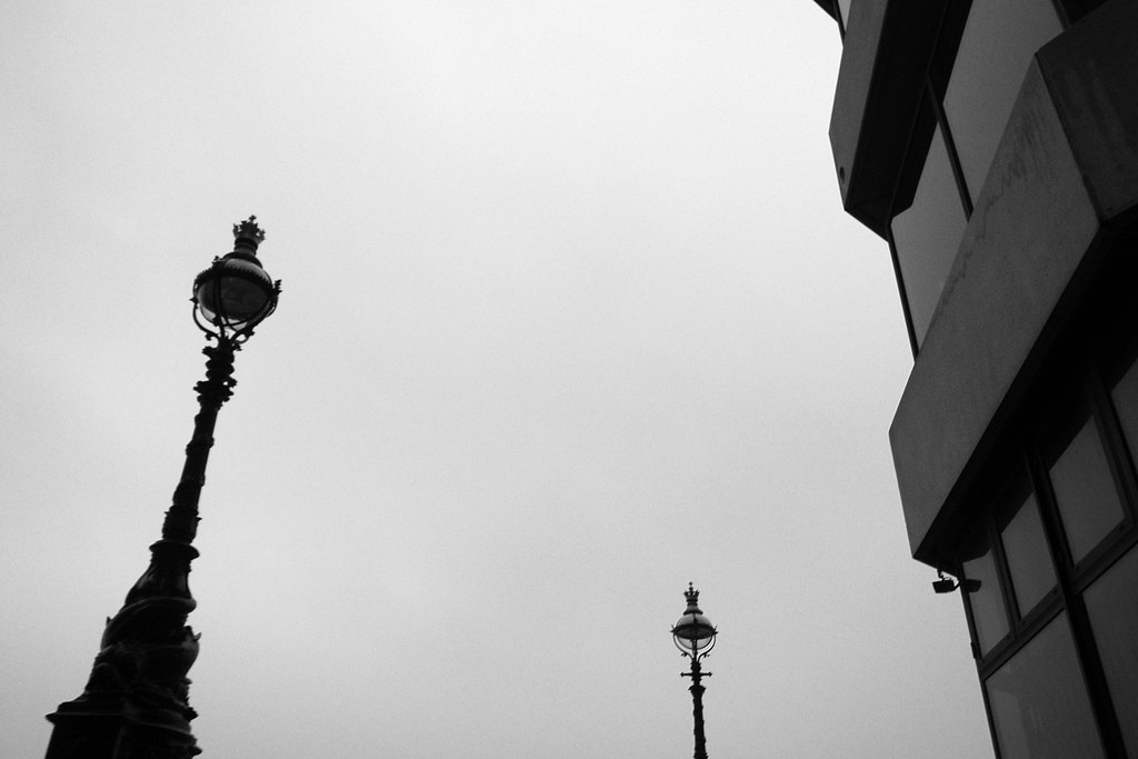 London streetlights bw