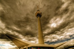 ready for take-off (gari.baldi) Tags: sky berlin architecture canon germany 350d dramatic gimp fernsehturm garibaldi hdr tvtower 2007 lightroom paperwall 3xp photomatix superaplus aplusphoto