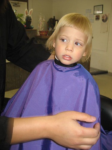 Getting first hair cut