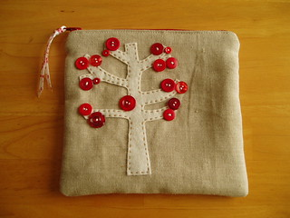 red button tree pouch