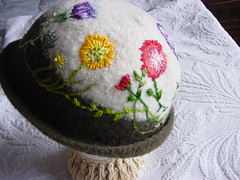 Freeform Embroidery on Felted Cloche View 3 Crochet w/ Paytons Wool (sierrasndy) Tags: flowers wild felting embroidery felt graden dmc cloche carnations shading freeform