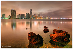 Rocks in Biscayne Bay (Fraggle Red) Tags: longexposure reflection skyline night bravo rocks florida miami magical hdr canoneosdigitalrebelxt brickell biscaynebay photomatix picturecollection canonefs1785mmf456isusm 3exp rickenbackercswy mywinners megashot