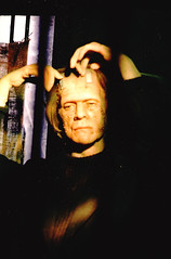 Boris Does His Hair (Ronald Hackston) Tags: uk england monster norfolk 1988 archive scan frankenstein boris filmcamera dummy greatyarmouth waxwork olympusom10 karloff ronniehackston