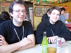 Ted Rall and August Pollak at Susie's Diner