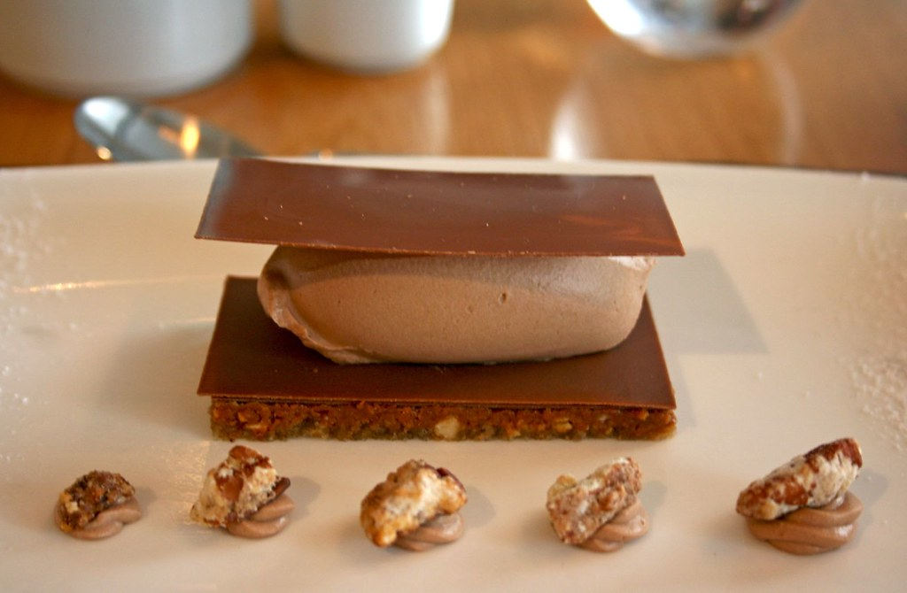 Close Up of Hazelnut Dacquoise with Milk Chocolate Chantilly