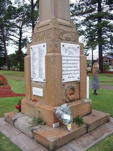 Flowers & rosemary on the Memorial at Woy Woy War Memorial Park ANZAC Day 2007