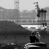 5:39pm - Oslo, Norway (Rune T) Tags: urban sun cute love oslo docks square holding ruins couple view candid young container streetphoto emotions
