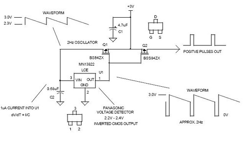 Cheap Low Power 3V 2Hz Oscillator