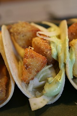 Corn-Crusted Tilapa Tacos with Avocado Cream