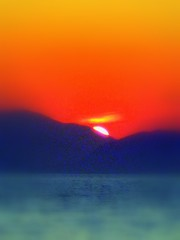 A Slice of Sun... (poly_mnia) Tags: blue friends sunset red sea orange sun mountain mountains colour yellow colours friendship greece saronic globalwarming saronicgulf 10faves explored expore  dearflickrfriend merhaba merhb  dearflickfriend superhearts globalwarmingawareness