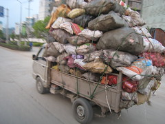 Small truck loaded up with cargo