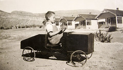 vintage: grandpa driving a fancy car (deflam) Tags: 1920s boy arizona playing car vintage fun toy driving child desert hayden familyphotos miningtown