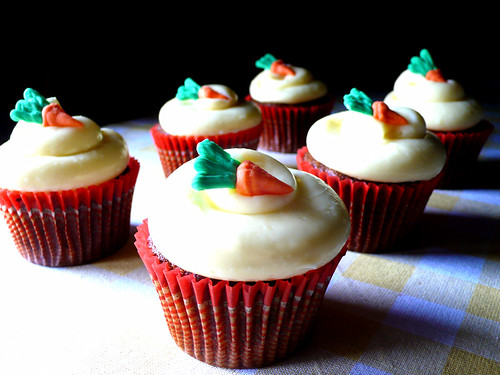 carrot cupcakes with a cream cheese frosting