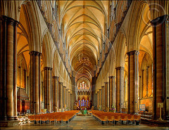 Salisbury Cathedral Interior - HDR (F-2) Tags: uk roof light england home church water fountain glass stain architecture digital photoshop canon computer photography design photo bravo cathedral unitedkingdom britain quality interior stainedglass ceiling altar spire holy seats fullhouse pro 5d salisbury flowing dslr wiltshire pillars pews hdr salisburycathedral 2007 manfrotto excellence fpc 333views 3xp canoneos5d photomatix cotcmostfavorited photomatixpro tonemap 200faves bluelist golddragon superaplus aplusphoto superbmasterpiece superhearts hspoker frhwofavs blackribbonbeauty 75faves pinoyhdr theperfectphotographer 055cb professionaltripod