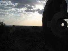 074 the Living Desert (Parkaboy) Tags: summer sculpture sun art silhouette rock stone clouds circle bush dusk horizon australia newsouthwales outback remote aboriginal shape sunrays brokenhill livingdesert barrierranges sculpturesymposium bajoelsoljaguar sundownhill underthejaguarsun