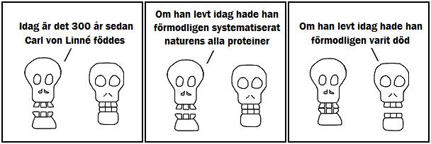 Idag är det 300 år sedan Carl von Linné föddes; Om han levt idag hade han förmodligen systematiserat naturens alla proteiner; Om han levt idag hade han förmodligen varit död
