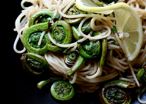 "Herbed Lemon ""Butter"" Pasta with Fiddleheads"