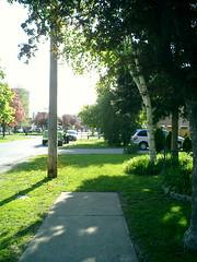 Beginning of sidewalk