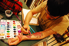 MJ painting on his fake tats (Ikayama) Tags: tattoo pen ink watercolor arm drawing fake octopus marker caligraphy tentacles barnesandnoble artfags nikond80 backthentheydidntwantmenowimhottheyallonme