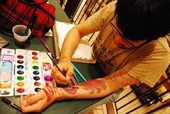MJ painting on his fake tats (Ikayama) Tags: tattoo pen ink watercolor arm drawing fake octopus marker caligraphy tentacles barnesandnoble artfags nikond80 backthentheydidntwantmenowimhottheyallonme