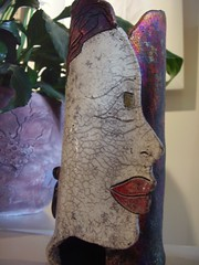 Terri Smith Raku Pottery with Face Profile