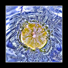Lemon Splash (AHMED...) Tags: blue pakistan stilllife black water yellow fruit lemon splash ahmed sind sindh highspeed muhammad fruitsplash mehrabpur