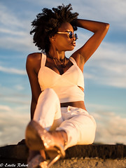 Sky's the limit (estellerobertnyc) Tags: nyc newyork afrohair blackbeauty blackhair clouds ete naturalhair portrait riviere sky summer