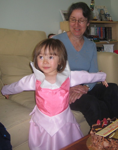 Ellie in her Sleeping Beauty dress with her grandmother
