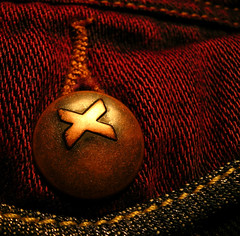 X Button (adamantine) Tags: red macro clothing x fabric button petercristofono