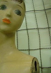 Figure and Wire (Lauren Bansemer) Tags: woman mannequin face fence neck naked wire eyes 60s display sale antique style plastic figure torso armless thescreendoor