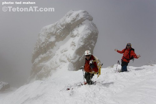 Neil and Chris loving life at the bottom of the Ford Couloir on the Grand Teton