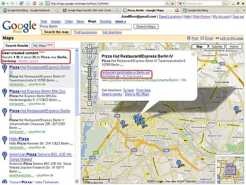 My Maps in den Suchergebnissen
