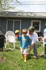 Uncle Matt Instructs Andrew (Cavalier92) Tags: home kids john matt football backyard pennsylvania andrew pa grandparents brookhaven thehaven delco