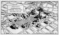 Downtown Los Angeles Bomb Shelter (jericl cat) Tags: park vintage paper losangeles downtown ephemera downtownla proposal bombshelter 1951