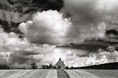 St Huberts (Trevor Hare) Tags: uk england film church zeiss village 28mm hampshire contax hp5 ilford saxon distagon orangefilter sthuberts idsworth coolscanv photoshopelements40 weatherphotography