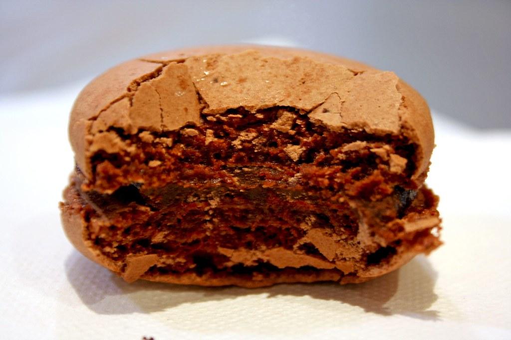 J.T.'s Chocolate Macaron; bitten
