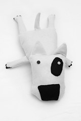Ettore Stretching Out (supah) Tags: dog animals monster toy toys sewing flash felt plush canon50mmf18 bullterrier pelouche supah plushes canon50mm crafties pupazzi ettore monstertoy canoneos400d canon400d supahplush starblits