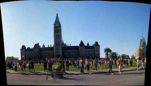 Jubilant Ottawa Senators fans in front of the Canadian Parliament...