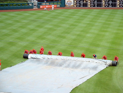 Rolling up the tarp