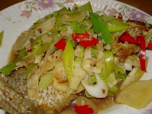 fried fish leek sauce