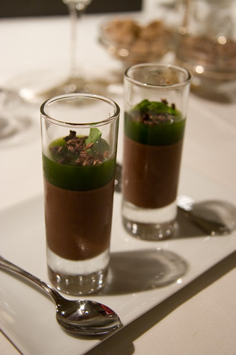 chocolate mousse and basil gelee