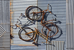 Goin' Round and Round in Circles.... (fotofantasea) Tags: travel shadow orange white abstract black bicycle wheel metal composition circle grey artwork rust bravo silverton perspective australia roadtrip vehicle newsouthwales outback coolest tyre magicdonkey flickrsbest abigfave ysplix auselite
