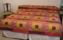 leaves maroon and gold full / queen quilt bed (suchprettycolors) Tags: autumn red leaves yellow gold bed bedroom burgundy maroon craft blanket quilts patchwork warmtones