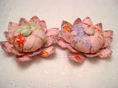 Flower Pincushions ! (craftsty) Tags: 2 3 flower floral sisters pin handmade fabric pincushion cushion
